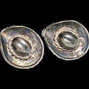 Sterling Silver Cowboy Sombrero Hat Screw Back Earrings