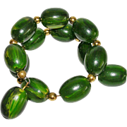 Fun Watermelon Green Bakelite Memory Wire Bracelet