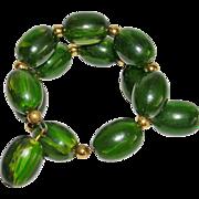 Fun Watermelon Green Bakelite Memory Wire Bracelet