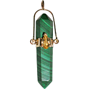 Custom Design 14Kt Yellow Gold Malachite Point Pendant