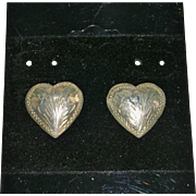 Sterling Silver Heart Design Chased Earrings