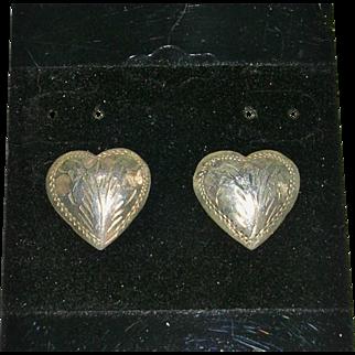 Sterling Silver Heart Design Chased Earrings