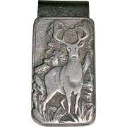Pewter Deer/Elk Design Money Clip