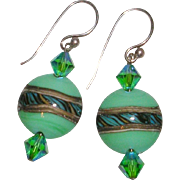 Handcrafted Art Glass and Swarovski Bead Earrings