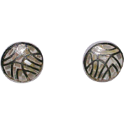 Pretty Sterling Silver and Inlaid Shell Earrings