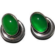 Translucent Green Onyx Chrysoprase Sterling Silver Screw Back Earrings
