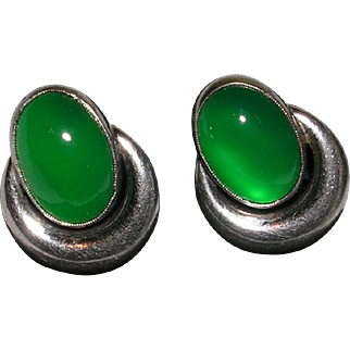 Translucent Green Onyx Chrysoprase Sterling Silver Screw Back Earrings