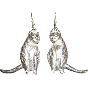 Furry Sterling Silver Cat Earrings