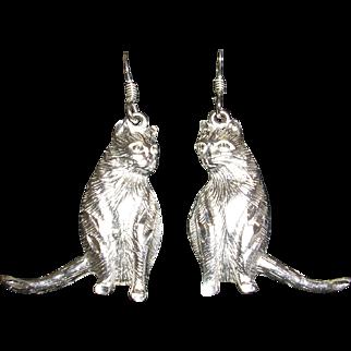 Furry Sterling Silver Cat Earrings