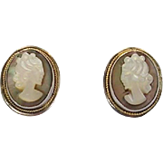 Beautiful Carved Shell Cameo Earrings