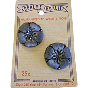 Black Iridized Glass Buttons Germany on Card