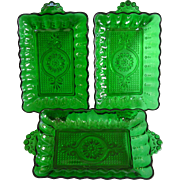 Anchor Hocking Forest Green Oyster and Pearl Dresser Trays