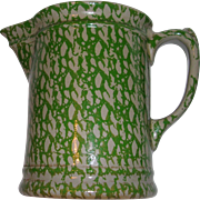 Vintage Beaumont Brothers Green Spongeware Salt Glaze Pitcher