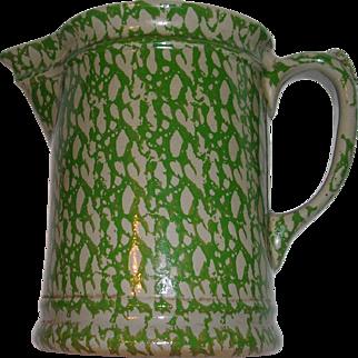 Vintage Beaumont Brothers Green Spongeware Salt Glaze Pitcher