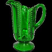 Victorian US Glass Emerald Green Paneled Herringbone Florida Pitcher