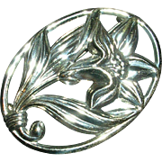 Vintage Danecraft Sterling Silver Framed Lily Brooch