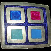 Colorful Alpaca Silver Geometric Pin/Brooch or Pendant