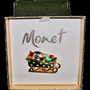 Gold Tone Monet Christmas Santa Sleigh Brooch/Pin