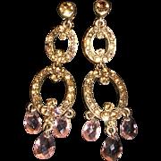 Vintage Monet Champagne Chandelier Clip Earrings