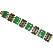 German Art Deco Chrysoprase and Wood Bracelet Kollmar & Jourdan
