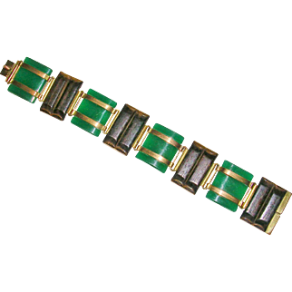 German Art Deco Chrysoprase and Wood Bracelet Kollmar & Jourdan