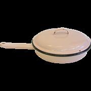 Retro Pink Enamelware Fry Pan with Lid