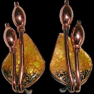 Matisse Renoir Copper and Enamel Cattail Earrings
