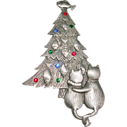 Christmas Holiday JJ Cat and Tree Silvertone Pin/Brooch