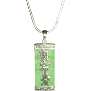 Jade and Sterling Silver Asian Character Pendant and Chain