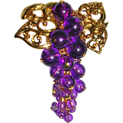 Avon Gold Tone Grape Cluster Pin Pendant 1993