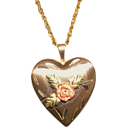Black Hills Tri Color Gold Heart Locket Necklace 14Kt GF