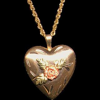 Black Hills Tri Color Gold Heart Locket Necklace 14Kt GF