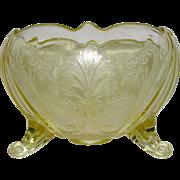 Lancaster Glass Landrum 3 Toed Topaz Rose Bowl
