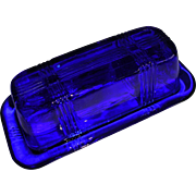 Cobalt Blue Hazel Atlas Criss Cross Repro Butter Dish