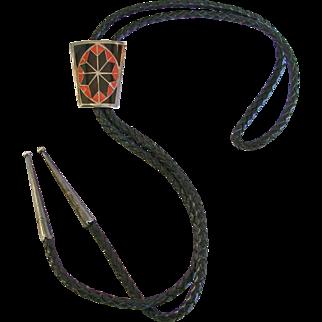 Native American Inlaid Star Design Sterling Silver Bolo Tie