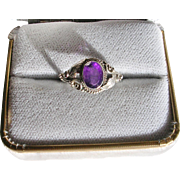Pretty Micro Fabricated Silver Amethyst Ring