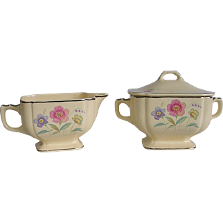 Homer Laughlin Wells Century Patter C2 Creamer and Covered Sugar