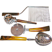 Vintage 1960's Bakelite Handle Uncommon Collection of Kitchen Utensils