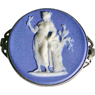 Victorian Wedgwood Blue Jasperware Sterling Brooch