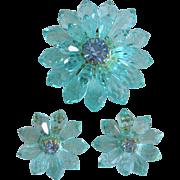 Luminous Aqua Faceted Lucite and Rhinestone Flower Set Western Germany