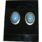 Faded Denim Blue Stone Sterling Silver Earrings