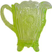 Luminous Mosser Vaseline Glass Dahlia Pitcher