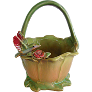 Charming Majolica Basket with Figural Bird