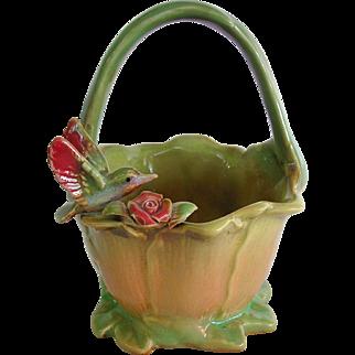 Charming Majolica Basket with Figural Bird