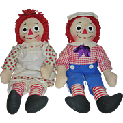 "Raggedy Ann and Andy Dolls 20"" Knickerbocker 1965"