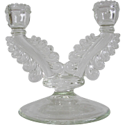 Art Deco Design Clear Pressed Glass Double Candle Holder