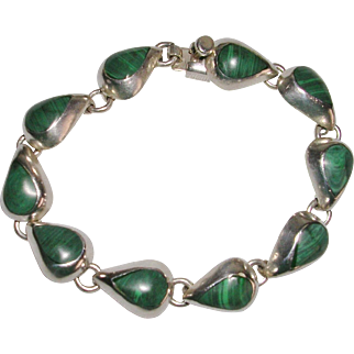 Taxco Sterling Silver and Banded Malachite Link Bracelet