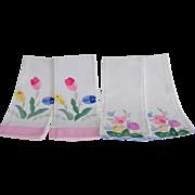 Spring Inspired Cotton Applique Tea Towels