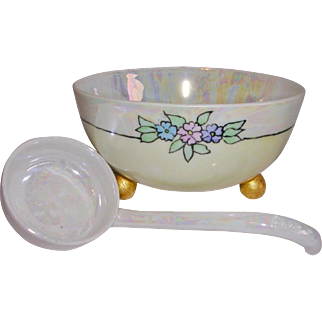 Signed Dated Hand Painted Luster Ware Condiment Dish and Spoon