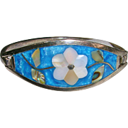 Aqua Blue Alpaca Inlay Bracelet Mexico